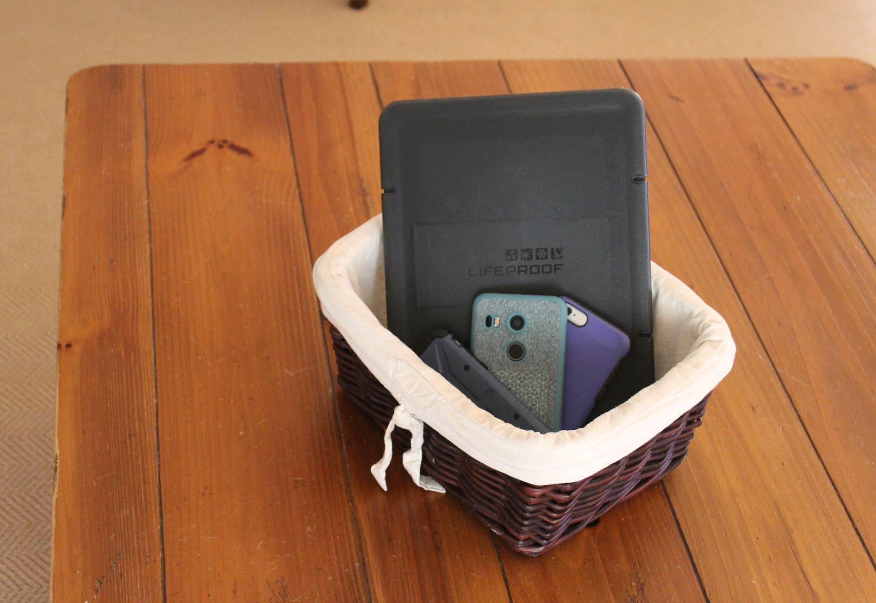 cell phones in basket