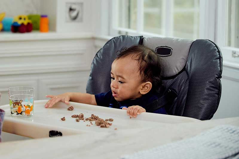 infant eating ground meat